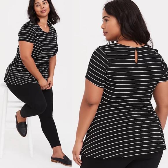 Torrid Peplum Pinstripe Top Black White Stripe 3X